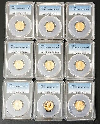 9 X 1991 S 1C Lincoln Cent Proof PCGS PR69RDDCAM