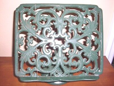 "~GREEN~CAST IRON~TABLETOP~RECIPE BOOK HOLDER~PAGES WEIGHTS~9""T x 10""L x 8.5""W"
