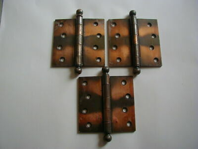 "Antique set of 3 hinges 1900's recent estate find ball tops 4"" x 4"" NICE"