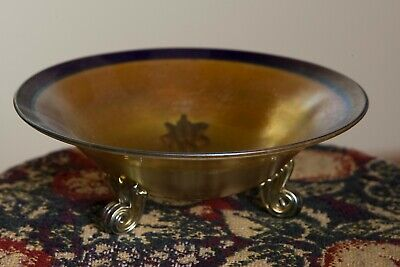 L.c. Tiffany Favrile Gold Iridescent Art Glass Applied Footed Bowl