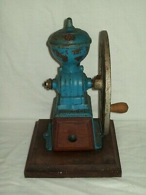Antique 1800's ~ Original MJF Cast Iron Coffee Bean Grinding Mill ~ Rare Blue !