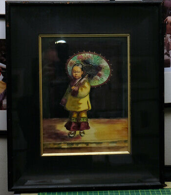 Origi. Watercolor Gouache Painting of Young Chinese Girl-Chinatown Early 20th C