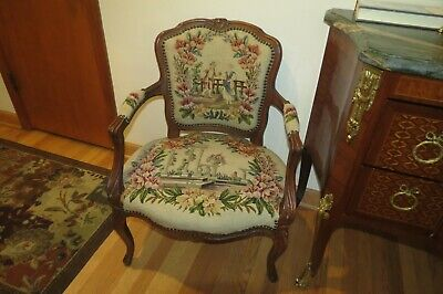 Antique French Needlepoint Louie Xv Hand Carved Arm Chair--Beautifull
