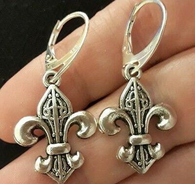 New Sterling Silver Filled Saint Cross Fleur-de-lis Medal Charm Lever Earrings