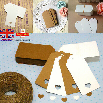 50/100 Kraft Paper Card Gift Tags Scallop Label Wedding Blank + Strings UK STOCK