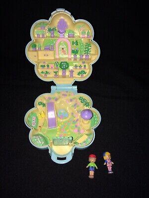 Vtg Polly Pocket Bluebird Compact 1990 Midge's Flower Garden COMPLETE! 2 Dolls💚