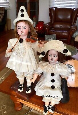 A Pair Of Antique  Bisque French Pierrot Dolls DEPOSE SFBJ 9 ( Marching Dolls)
