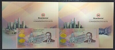 2019 SINGAPORE BICENTENNIAL $20 x2PCS Running No COMMEMORATIVE NOTE W/Folder UNC