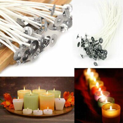 30-200Pcs Candle Wick Pre Waxed Cotton with Sustainers For Soy Wax Candle GA