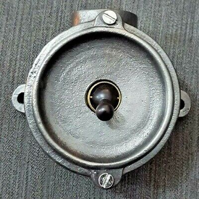 Vintage Industrial Round Factory Light Switch Salvaged Reclaimed Crabtree Old