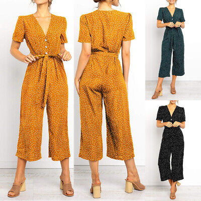 Women Spotted Wide Leg Jumpsuit V Neck Playsuit Romper Pant Summer Beach Holiday