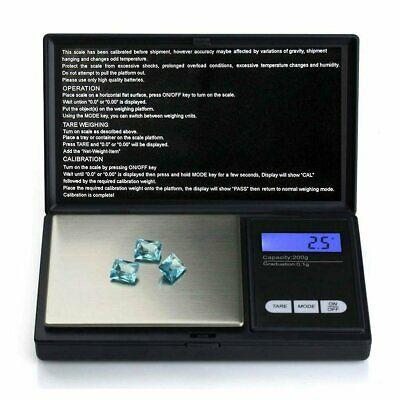 NEW 200g 0.01 DIGITAL POCKET SCALES JEWELLERY ELECTRONIC milligram micro mg GA