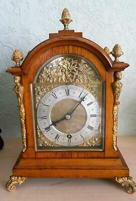 Golden Oak & Ormolou French Bracket Clock Time piece Serviced & Overhauled