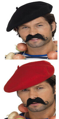 BLACK BERET FRENCH MEN FLAT  HAT WITH TASH FANCY DRESS PARTY COSTUME ONE SIZE