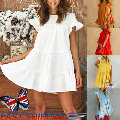 Ladies Womens Summer Smock Dress Tops Holiday Beach Casual Loose Frill Sundress