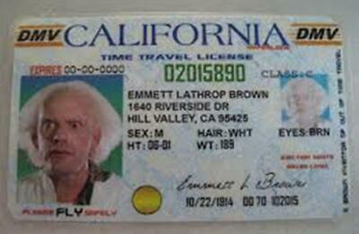 Back to the Future Doc Emmet Brown California Driver Licence Prop Card identity