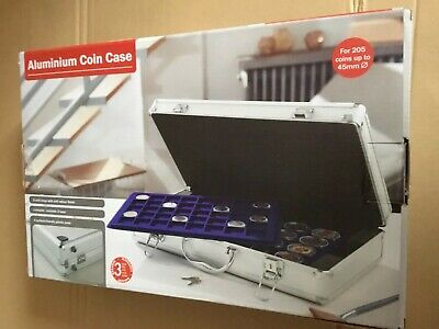 Aluminium Coin Case - 5 trays for 205 coins up to 45mm BNIB lockable with 2 keys