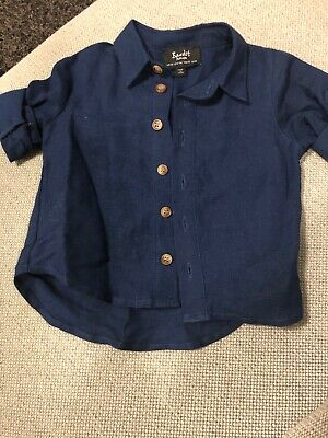 Bardot Junior Baby Linen Navy Shirt 6-9 Months Brand New