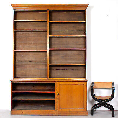 Large Antique Oak Bookcase Victorian Library Cabinet 19th Century