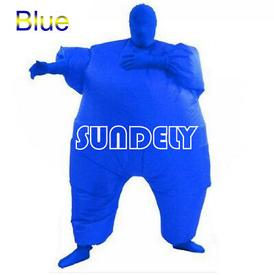 Inflatable Fat Chub Suit Fancy Dress Party Adult Costume Cosplay Jumpsuit Blue