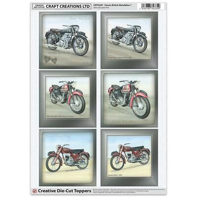Craft Creation Classic British Motorbike Toppers For Cards & Craft