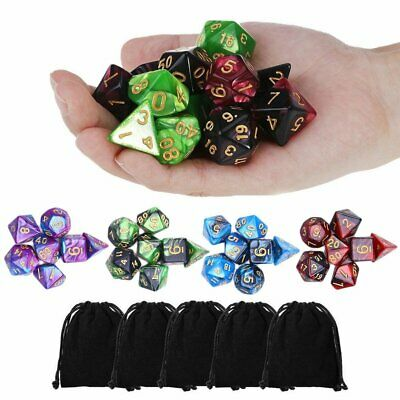 42Pcs Polyhedral Dice For DND RPG Game Poker Card Dungeons Dragons Party GM