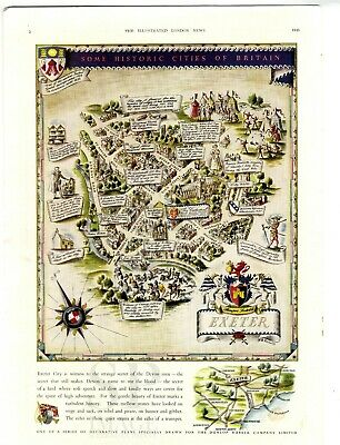 1948 Vintage Map EXETER Pictorial Plan ILLUSTRATED LONDON NEWS Advert