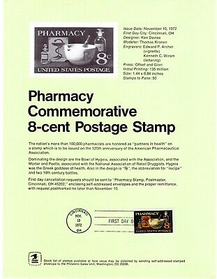 USA # 1473  Pharmacy -  First Day of Issue Souvenir Page by the USPS