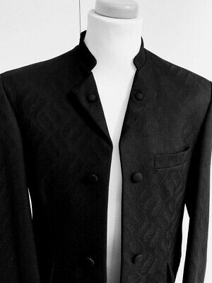 Mens Black Brocade Nehru Collar Jacket Wool Ex Hire Weddings/Races/Formal