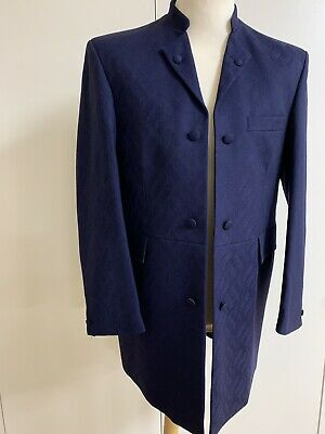 Mens Blue Brocade Nehru Collar Jacket Wool Ex Hire Weddings/Races/Formal