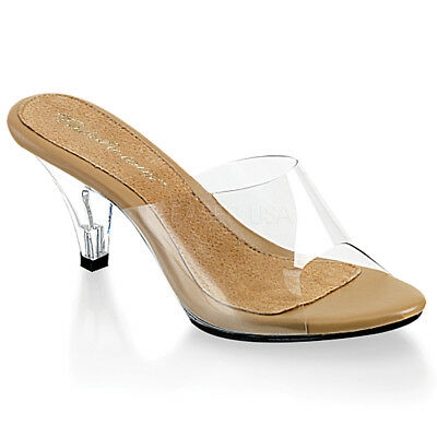 1473d249b8a CLEAR LUCITE SHOES Slip On Slide Sandals Open Toe Heels FABULICIOUS ...