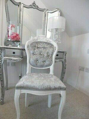 1 White French Style Louis Chair in Silver/Grey Crushed & Diamante Buttons