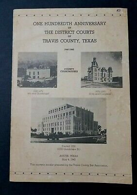 RARE 1940 Booklet 100th Anniversary of District Courts Travis County, Texas Bar