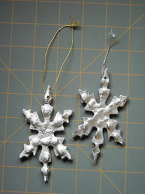 VINTAGE CAST METAL SILVER SNOWFLAKES LOT of 2 ~ ADD TO YOUR COLLECTION!
