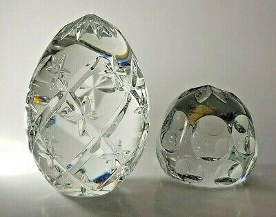 2 Clear Cut Crystal Paperweights - Large 11Cm Egg And Smaller Round