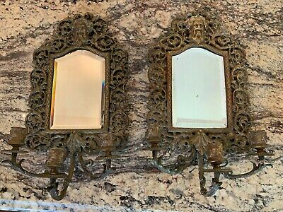 Incredible Matched Pair of Victorian Bronze Beveled Mirror Wall Sconce Greek God