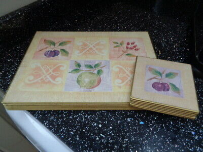 MARKS AND SPENCER WILD FRUITS PLACEMATS AND COASTERS X 6 - design 2