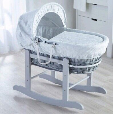 Kinder Valley Grey Wicker Moses Basket & Stand (Waffle White)
