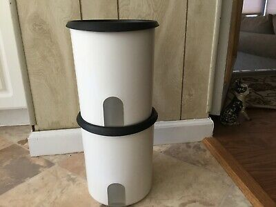 Tupperware One Touch Flour 17 Cup Canister, Black Seals X 2