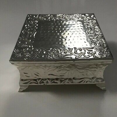 Silver Metal Square Cake Stand