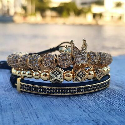 2019 Men's Micro Pave CZ Ball Crown Braided Adjustable Bracelets Copper Beads