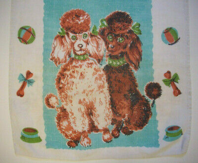 Pair of french Poodles vintage KITCHEN TOWEL