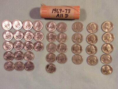 1967-69 WASHINGTON QUARTERS, ROLL OF 40: 17 of 67P, 5 of 68P, 9 of 69P, 9 of 69D