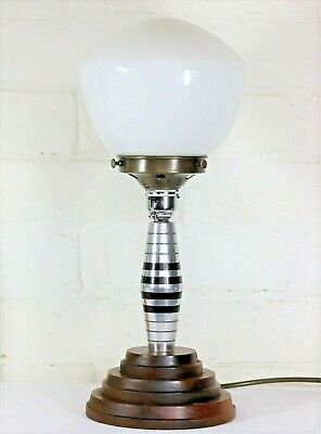 1920s Art Deco Machine Age Table Lamp & Globe Shade Machined Alloy Lucite & Wood