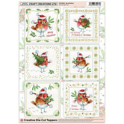 Craft Creation Christmas Robins Toppers For Cards & Craft