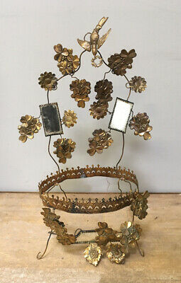 ANTIQUE FRENCH GILDED TOLEWARE MARRIAGE INTERIOR c1900