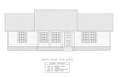 Ranch House Plans 1500 SF 3 Bed 2 Bath Open Floor - Split Bedrooms (Blueprints)