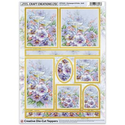 Craft Creation Champayne Violas Gold Toppers For Cards & Craft