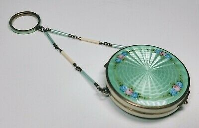 Vintage 1920's Silver and Green Enamel Round Compact with Key Ring