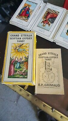 Vintage GRAND ETTEILLA EGYPTIAN GYPSIES TAROT CARDS GRIMAUD 1969 CARTOMANCY